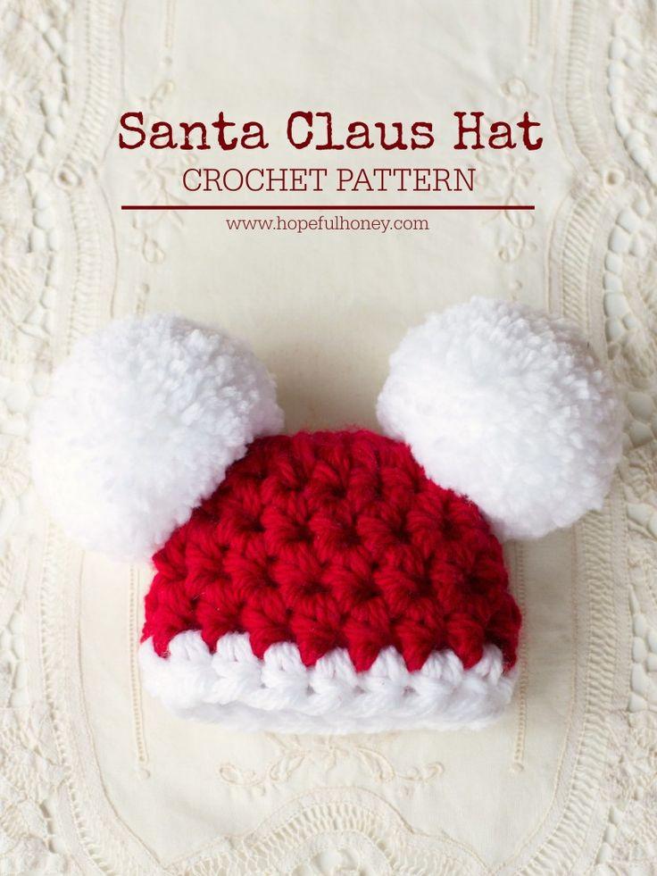 Santa Claus Baby Pompom Hat Free Crochet Pattern by Hopeful Honey