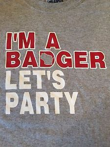 Wisconsin Logo Grey Shirt | Wisconsin-Badgers-Basketball-Im-a-Badger-Lets-Party-Logo-T-Shirt-Ash ...