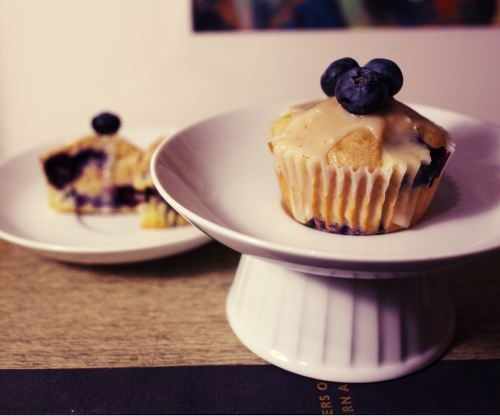 Blueberry French Toast Cupcakes with Maple Brown Butter Frosting.