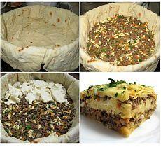 Пирог из лаваша с мясной начинкой.