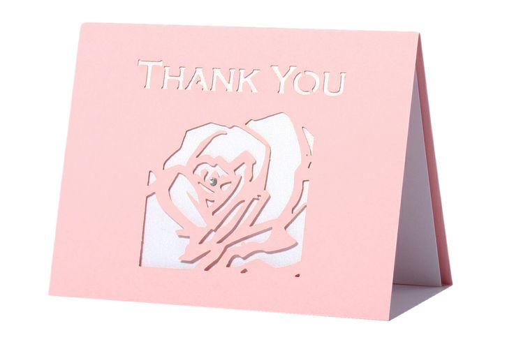 www.intricatecreations.co.uk English Rose Laser-Cut Thank You Card