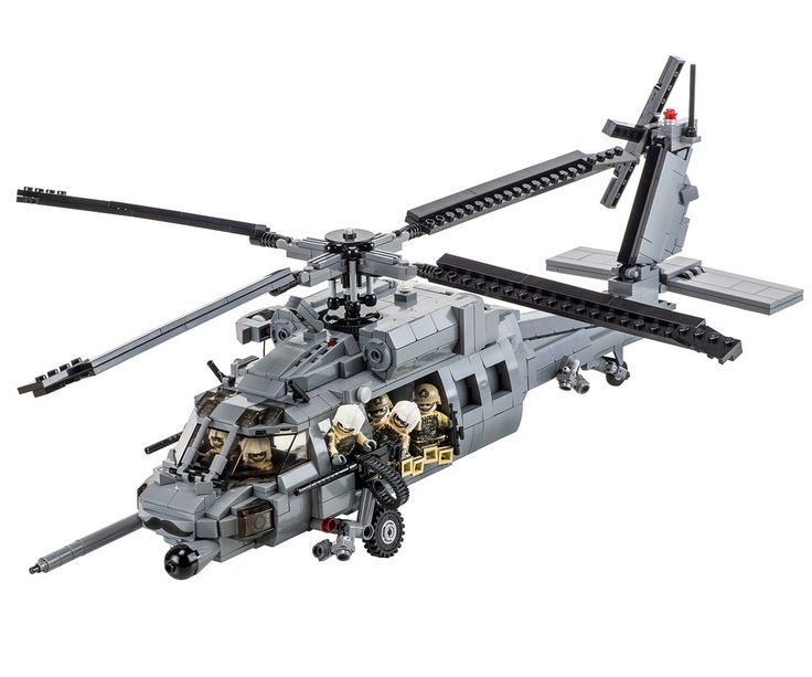 Here are pictures of the final kit version of my PAVE Hawk staged  by the Brickmania crew. Lando is responsible for the figures, specially created for this model. The GAU-18 heavy machine gun barrels and ammunition feed chute were custom created by BrickArms for this model. FYI, the first batch of 50 kits sold out on release date, but there is now a second batch in the pipeline.