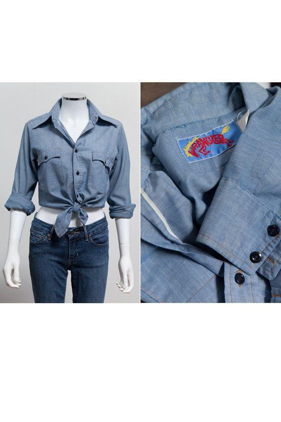 Vintage Wrangler Chambray Work Shirt • Mustang - Horse Tag • Chambray Button Up Shirt  • Wrangler Western Chambray • Cowgirl Shirt