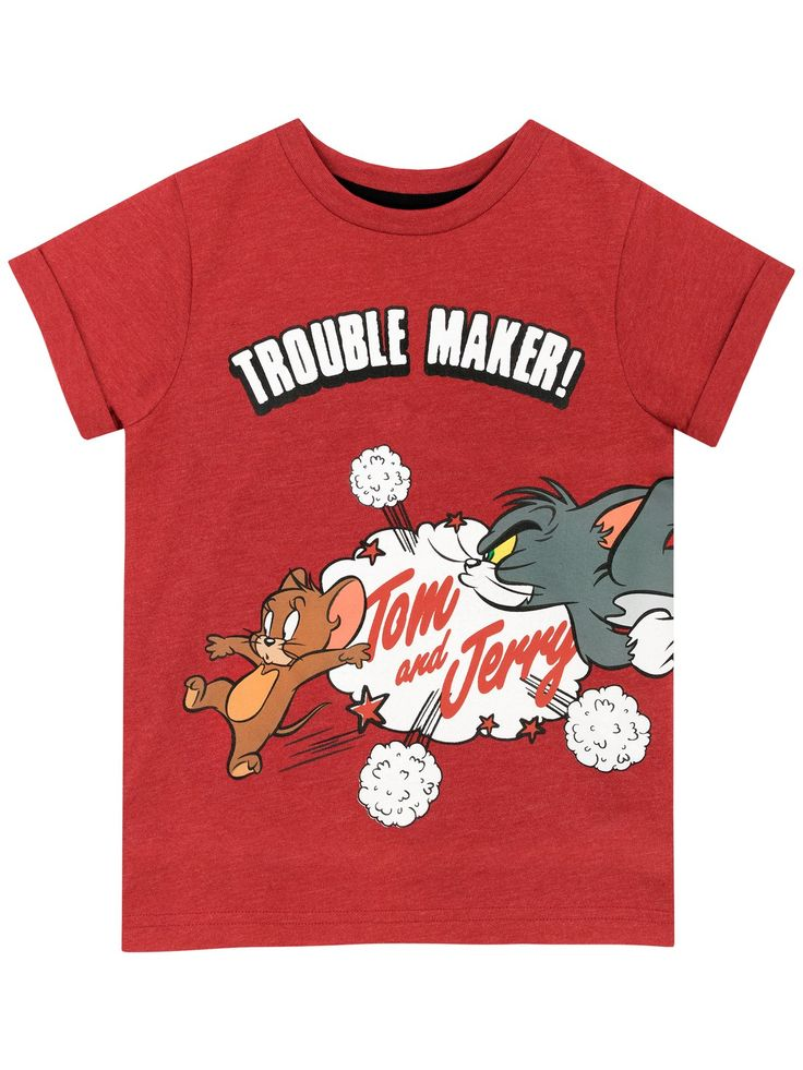 Shop this fun kids Tom and Jerry tee featuring the troublesome cartoon cat and mouse duo. In a rich red this fun and cute top is perfect for fans. Available in sizes 12 Months to 8 Years.