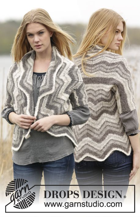"""Free Pattern Knitted DROPS jacket with zig-zag pattern and stripes in """"Brushed Alpaca Silk"""". Size: S - XXL."""