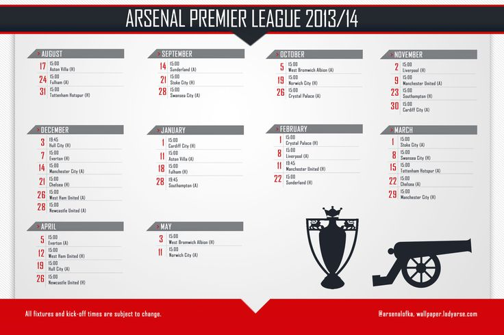 Arsenal FC Fixtures 2013-2014 Wallpaper HD