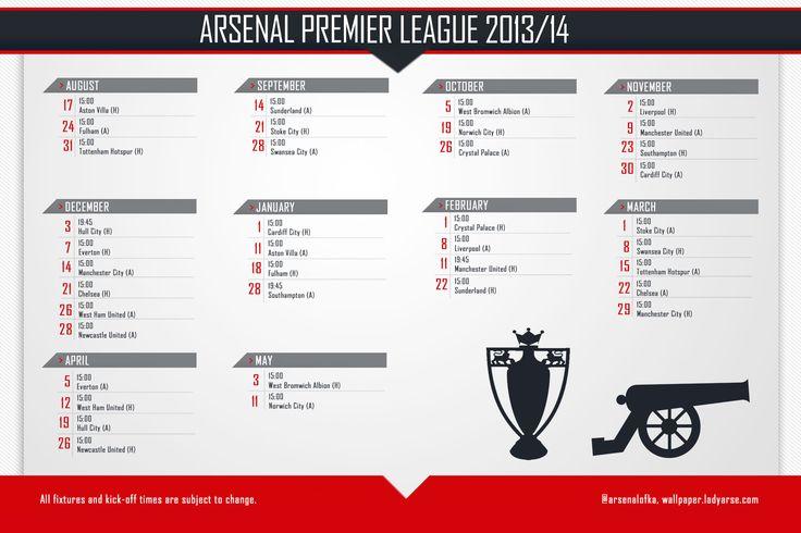 Arsenal FC Fixtures 2013-2014 Wallpaper HD