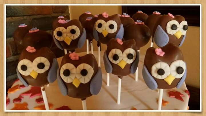Owl cakepops. Made by The Dotted Apron Bloemfontein. https://m.facebook.com/profile.php?id=703914623013978&refsrc=https%3A%2F%2Fwww.facebook.com%2Fpages%2FThe-Dotted-Apron%2F703914623013978