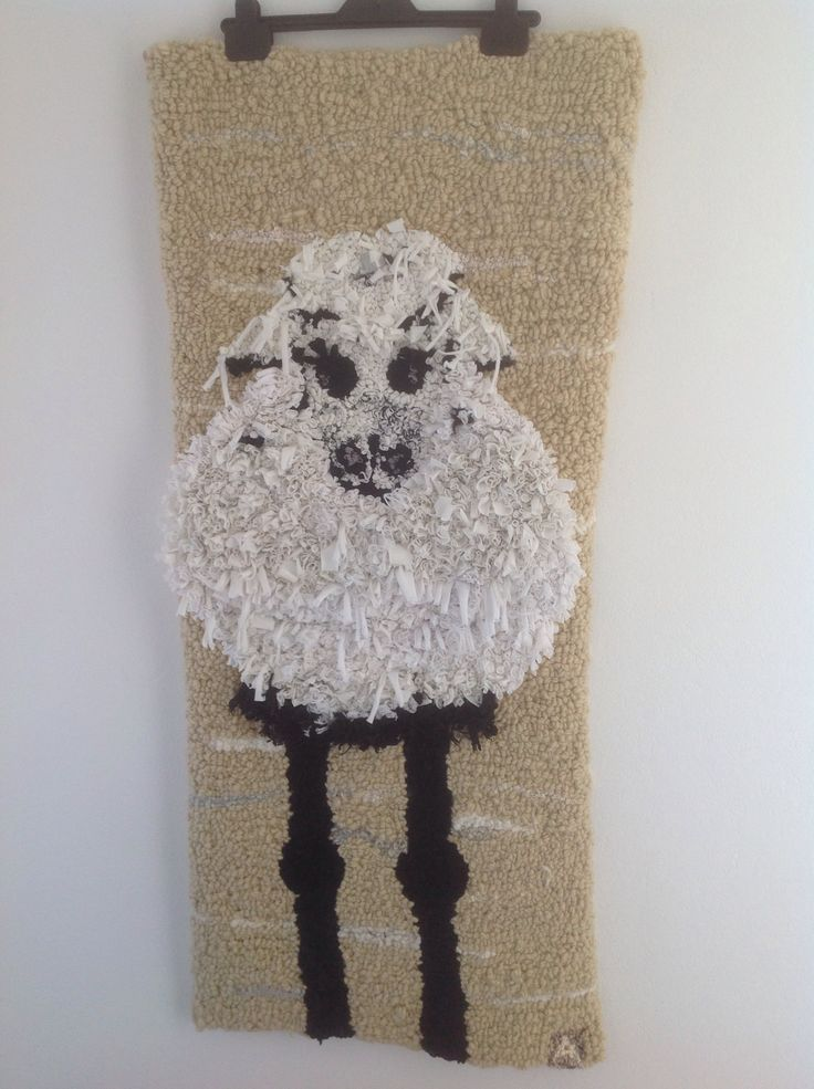 Rag rug sheep  Hooked by by Anne