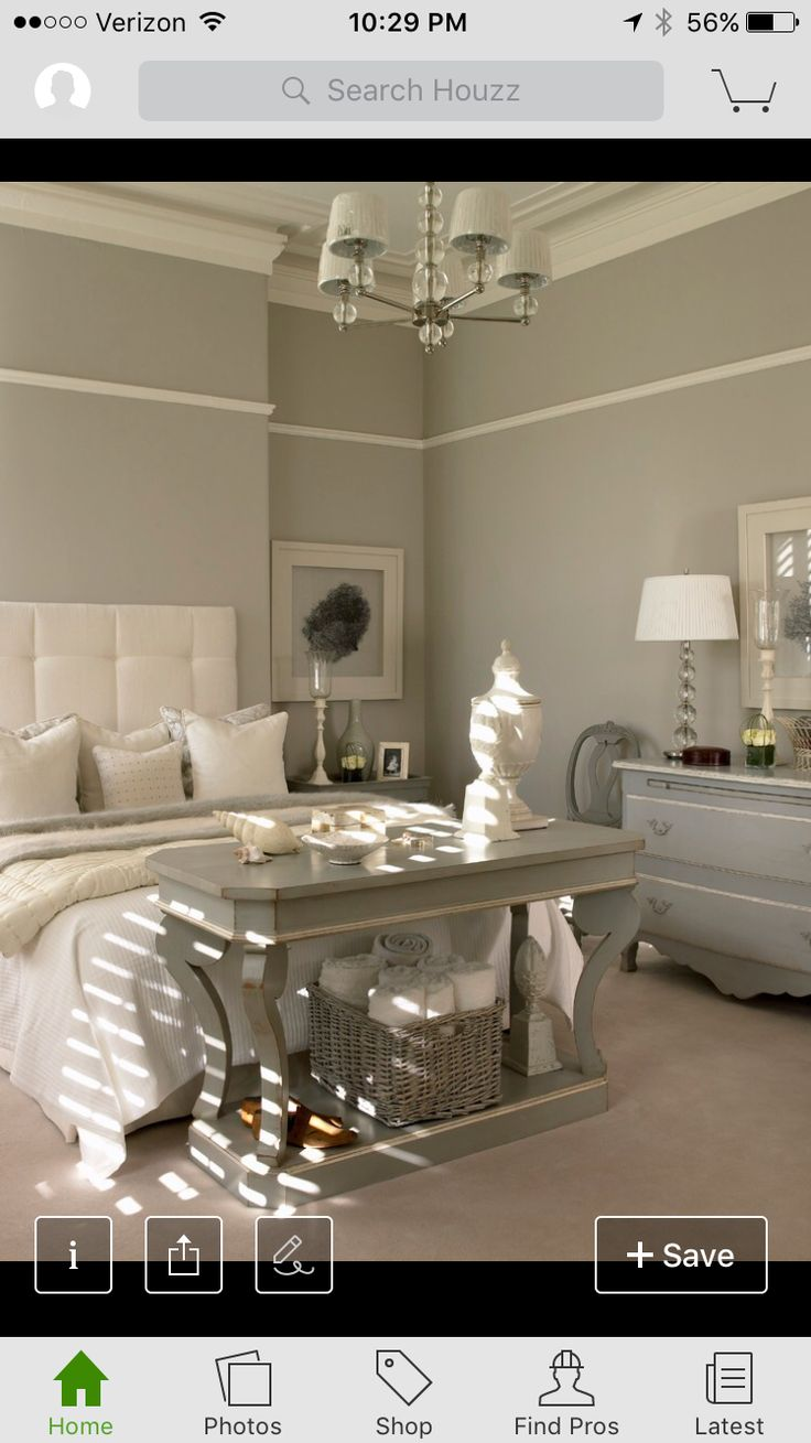 Very calming colors. Love the French style dresser and the table at the end  of the bed---great color too.
