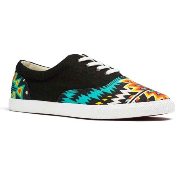 Bucketfeet Women's Archer Yellow Orange Black Athletic Shoes &... ($68) ❤ liked on Polyvore featuring shoes, sneakers, black, tribal print sneakers, tribal shoes, kohl shoes, black trainers and tribal sneakers
