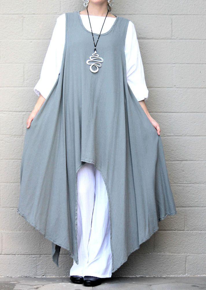 OH MY GAUZE Cotton Drip Hem SIDEKICK TUNIC  Long Vest 1 (M/L/XL) 2 (1X/2X) STEEL