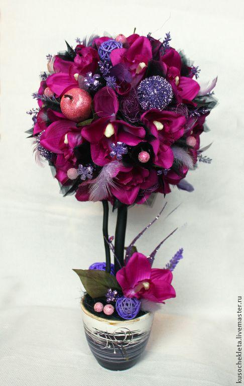"""Купить Топиарий """"Ночная орхидея"""" - фуксия, черная органза, тёмный, топиарий с чёрным, черный, топиарий"""