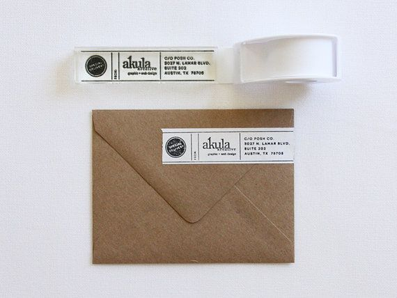 "4"" x 1"" CUSTOM Clear Rubber Stamp for Business Use - DIY Masking Tape Labels - Your Logo"
