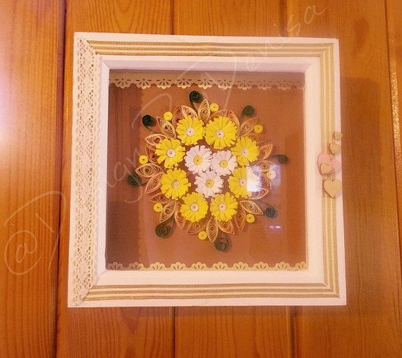 Quilled 3D Floral Arrangement Shabby Chic Deep by DesignsByDenisa