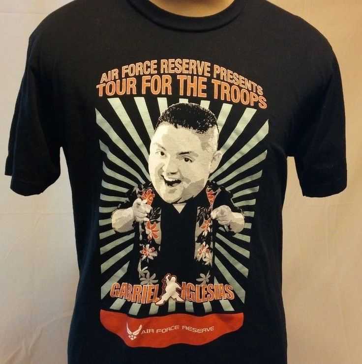 Gabriel Iglesias Tour For The Troops Comedian Black Graphic T-Shirt L #AmericanApparel #GraphicTee