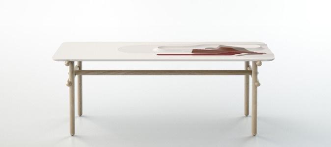 La table Pyrénées de Benjamin Graindorge, collection Favoris by Moustache with Corian.
