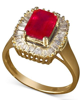 Gemma by Effy Collection 14k Gold Ruby (2-1/4 ct. t.w.) and Diamond (1/2 ct. t.w.) Baguette Ring