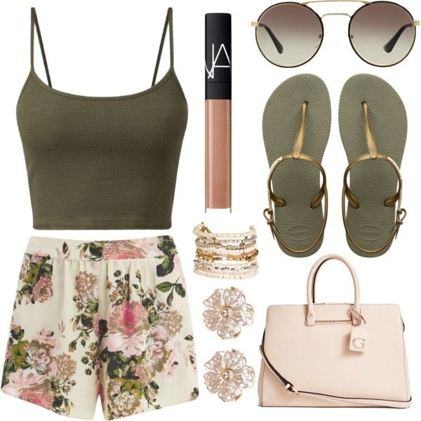 A fashion look from May 2016 featuring VILA shorts, Havaianas sandals and GUESS tote bags. Browse and shop related looks.