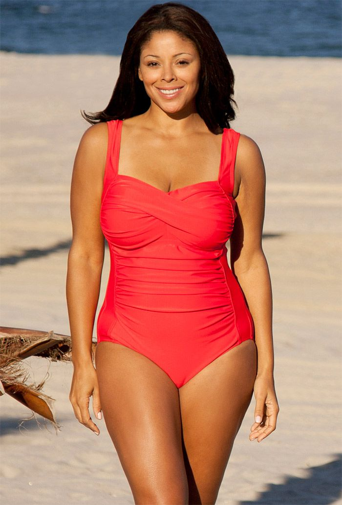 Delta Burke Red Twist Front Swimsuit Swimsuitsforall