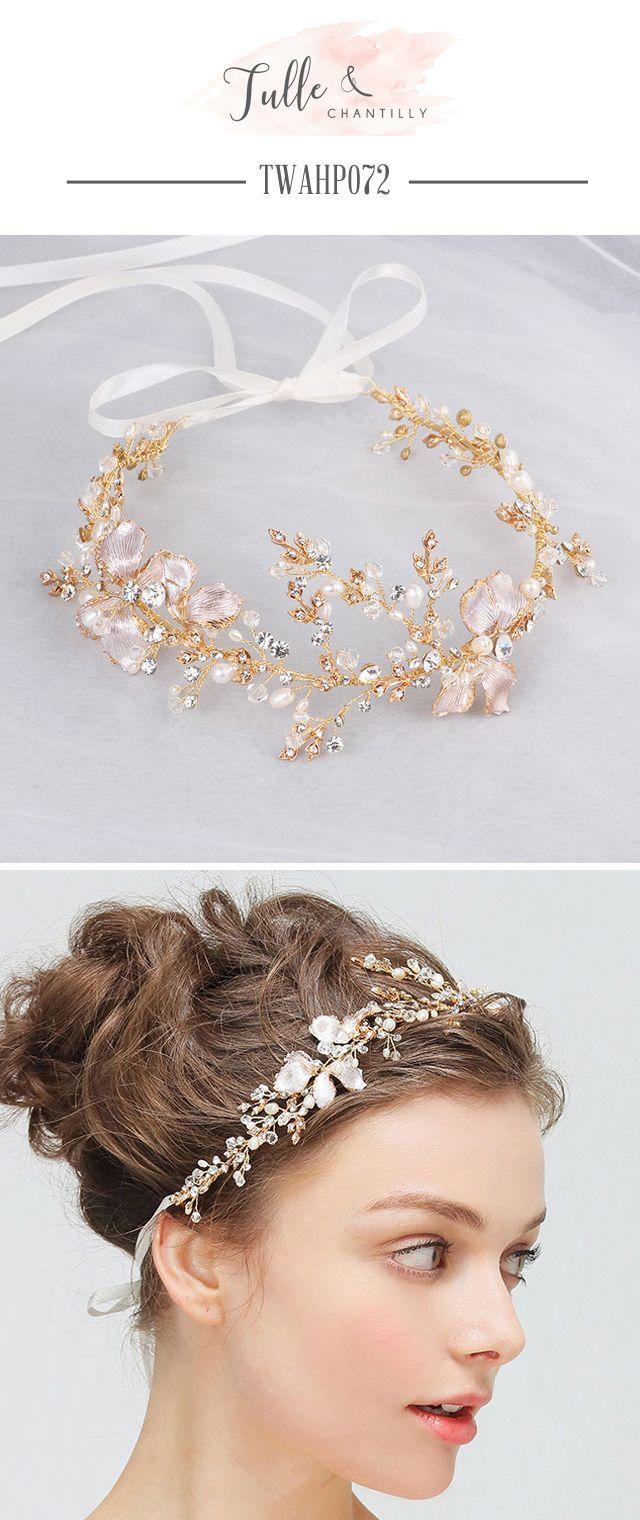wedding vines ribbon headband pearl crystal | hair clips