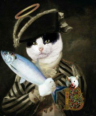 Bobsys in his fancy duds preparing a salmon slapping event on Stevie........