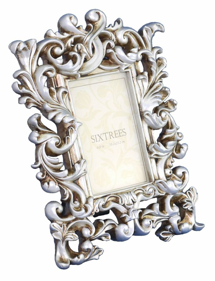 shabby chic style very ornate silver photo frame for pictures brooke by sixtrees amazoncouk kitchen home