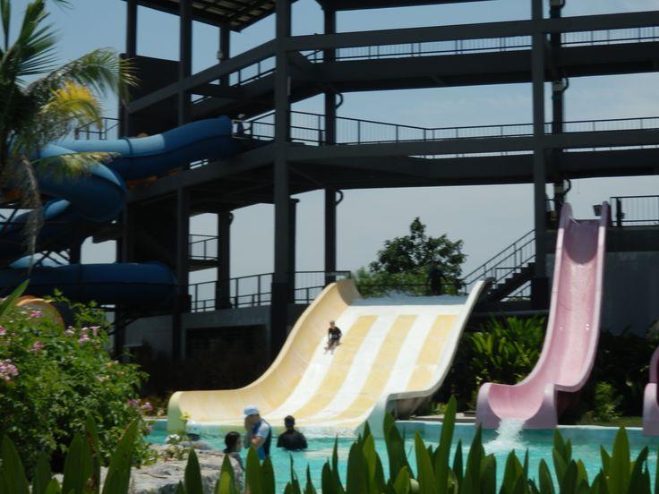 Water slides at Black Mountain Water Park in Hua Hin, Thailand