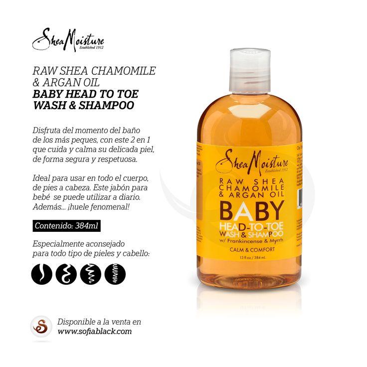 Jabón para bebé de Shea Moisture para una limpieza suave de pies a cabeza. Cuida y calma su delicada piel de forma segura y respetuosa, con ingredientes orgánicos certificados. Gel y champú 2 en 1 para bebés, niños y para toda la familia, todo tipo de cabellos. // Sin sulfatos / Sin parabenos / Sin aceite mineral / Sin fragancias sintéticas / No contiene DEA / Sin colorantes sintéticos / No testado en animales. // El cuidado más natural para tu cabello y piel en SofiaBlack.com