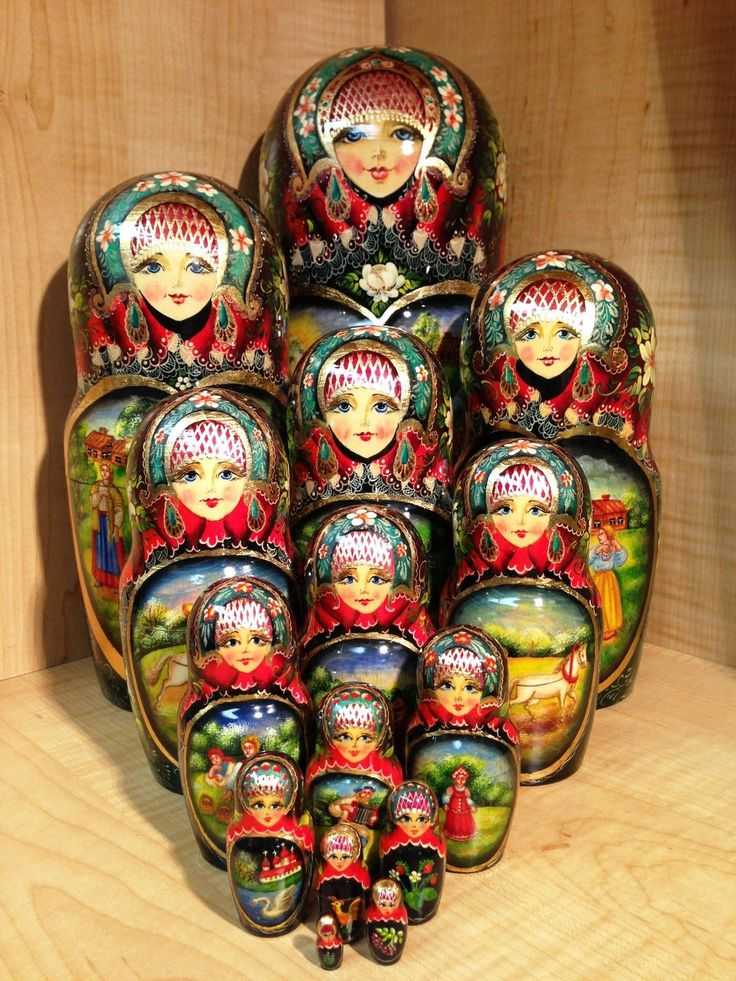 "Russian Country Scenes by Stepkaeva Russian Matryoshka Nesting Doll 12 3 4"" 15pc 