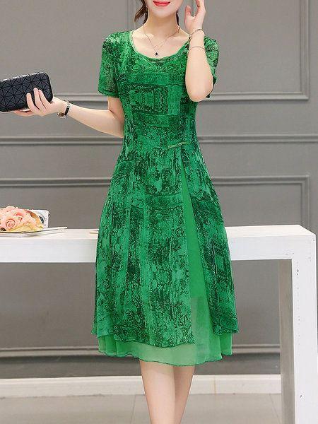 Shop Midi Dresses - Green A-line Casual Midi Dress online. Discover unique…
