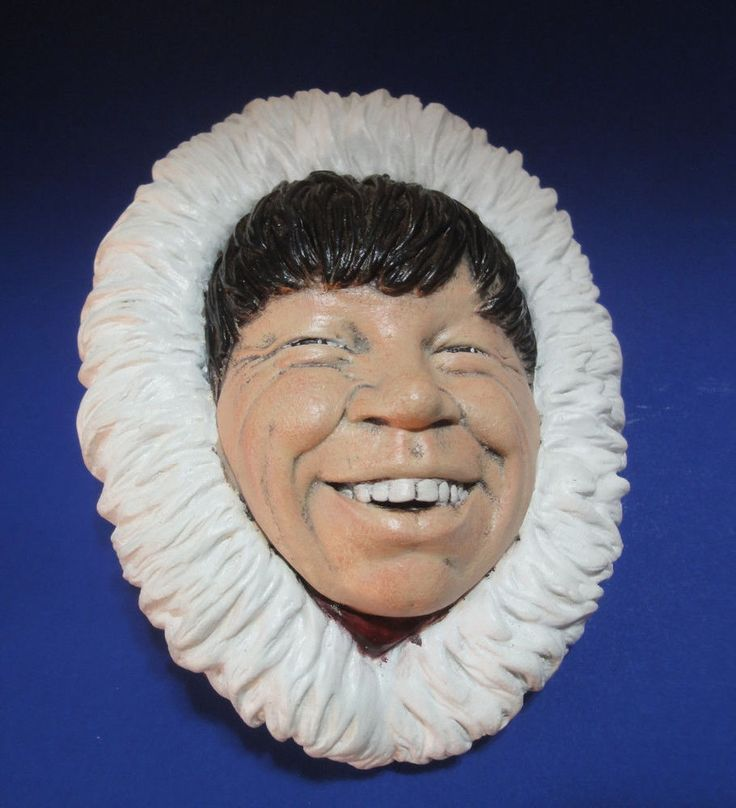 Vintage Chalkware Character Head, Wonderful Smiling Face Wall Plaque Aboriginal