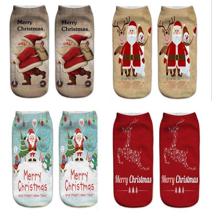 Christmas Socks - Snowman/Santa Socks for Women Low Cut Ankle Christmas Socks