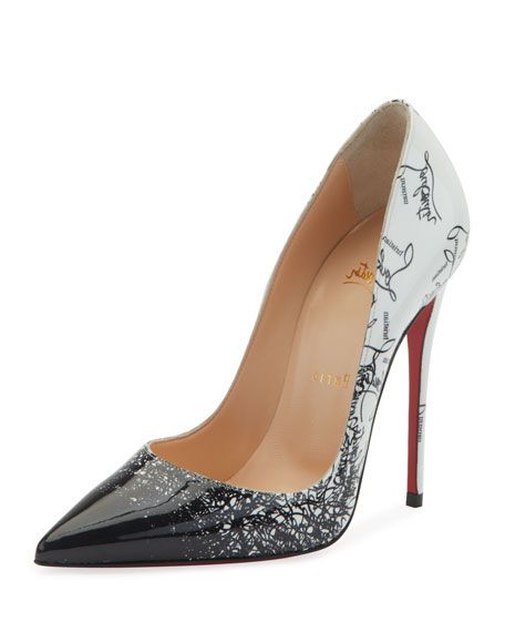 483a24753 CHRISTIAN LOUBOUTIN | So Kate 120mm Patent Degraloubi Red Sole Pumps - Black  & White | CAD 1,110.16 | Christian Louboutin pump in patent leather with