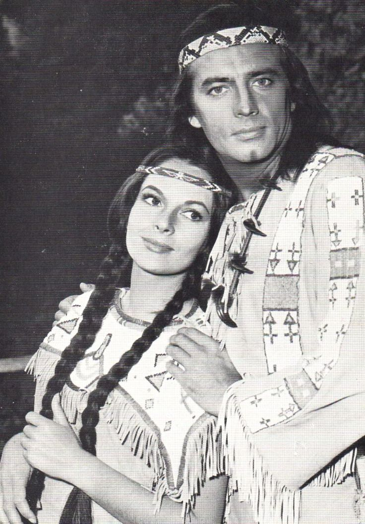 """Karin Dor and Pierre Brice as Ribanna and Winnetou in the movie """"Winnetou 2""""   They look like authentic native americans"""