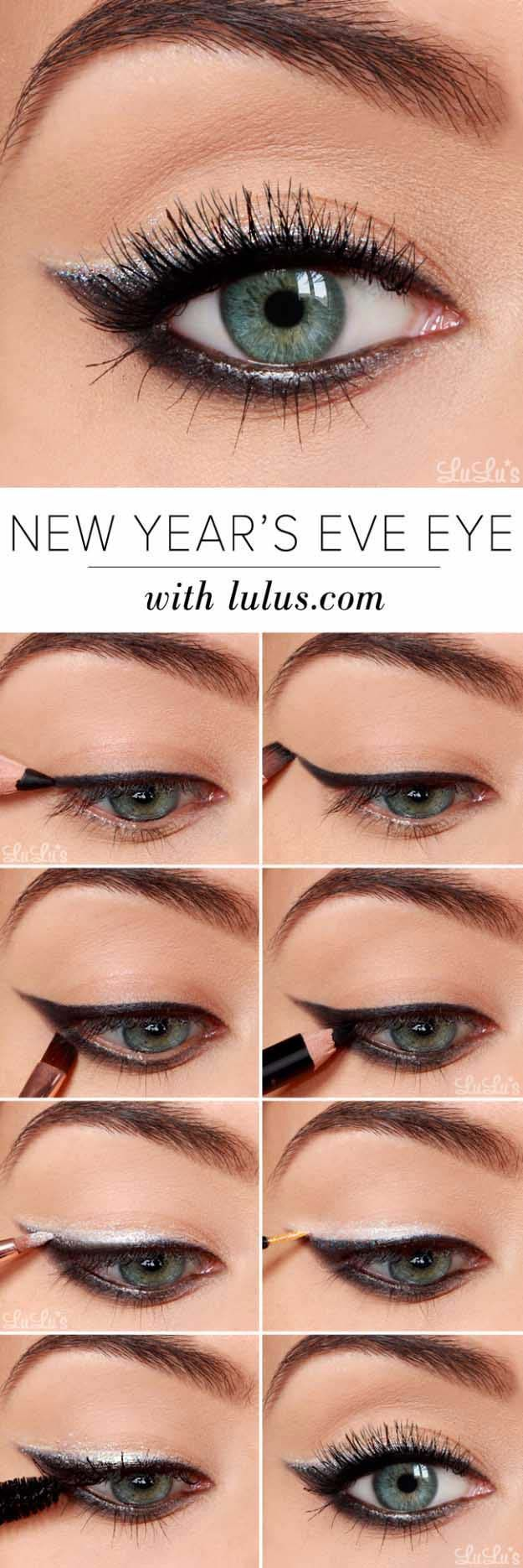 Eyeshadow Tutorials for Beginners - New Year's Eve Eyeshadow Tutorial - Step By Step Tutorial Guides For Beginners with Green, Hazel, Blue and For Brown Eyes - Matte, Natural and Everyday Looks That Are Sure to Impress - Even an Awesoem Video on a Dramatic but Easy Smokey Look - thegoddess.com/eyeshadow-tutorials-beginner #easyhairstylesforbeginners