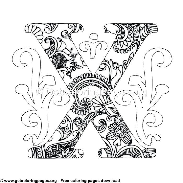 Zentangle Monogram Alphabet Letter X Coloring Sheet Unicorn