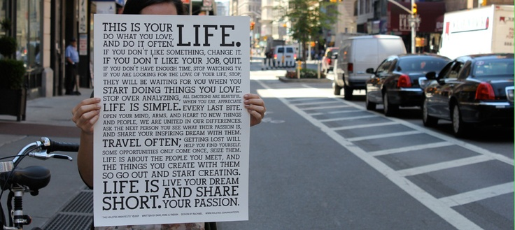 """The Holstee Manifesto Poster - """"This is your life"""" 