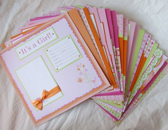 20 BABY GIRL premade Scrapbook Pages for 12x12 FiRsT YeAr ALbUm -- happy and sweet in pink orange and lime green-- on Etsy, $140.00