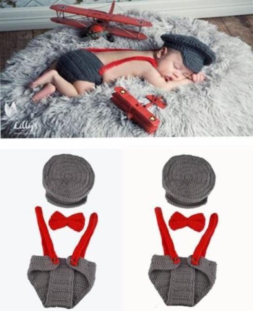 Handmade 3pcs Baby Set Hat+tie+pants Pilot Clothes Newborn Infant Photography Gi
