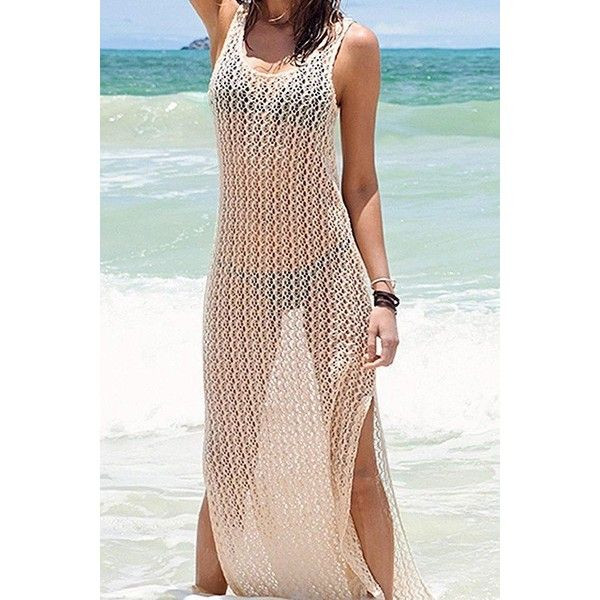 Yoins Beige Beach Hollow Out Sleeveless Maxi Cover-up ($16) ❤ liked on Polyvore featuring swimwear, cover-ups, beige, dresses, crochet beach cover up, crochet beach cover ups, crochet cover up, beach cover up and transparent bikini