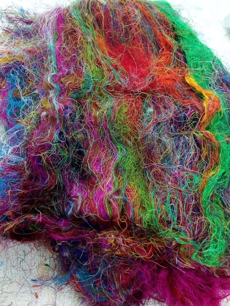 Sari Silk Fibre Recycled felting fibre, spinning fibre, needle felting, carding art yarn fibre textiles mixed media 52 grams by feltfibrecraft on Etsy