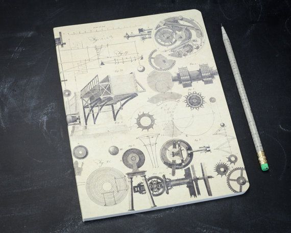 Physics: Mechanics Engineering Softcover Notebook | Dot Grid, Steampunk Bullet Journal, Recycled Paper, Grid Paper, Science, Lab Notebook