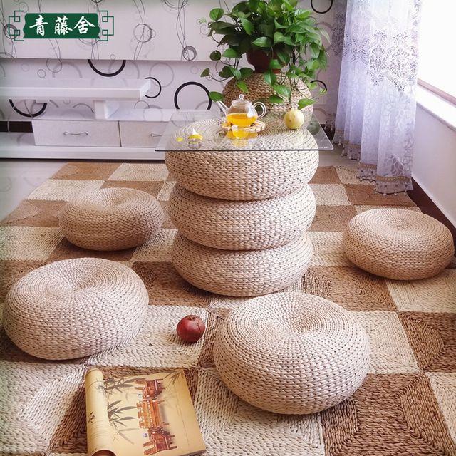 Japanese style Futon Round Stool Handmade Woven Cushion Steel Cytoskeleton Straw Futon Cushion FREE SHIPPING
