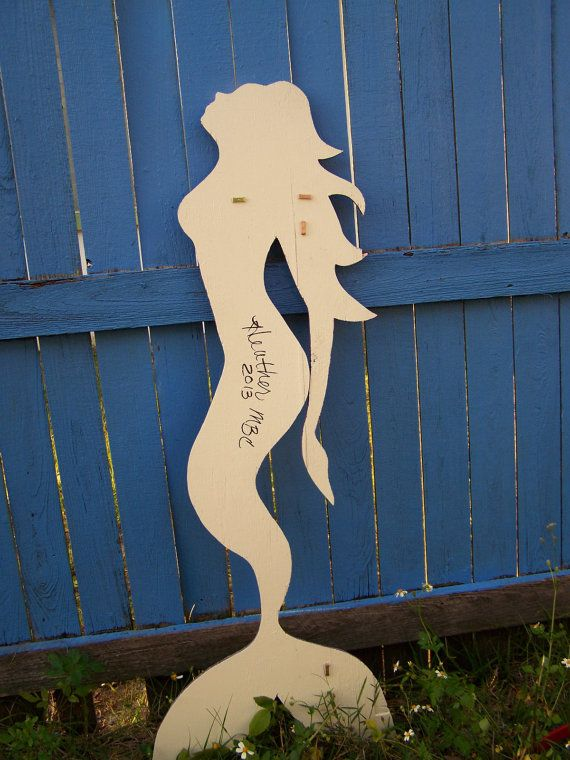Wood Mermaid Large Wall Hanging in Distressed Purple by HeatherMBC, $110.00