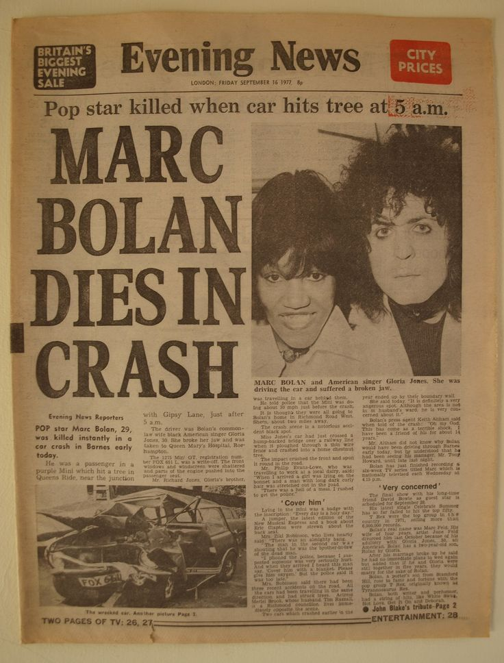 Marc Bolan dies, September 1977, newspaper front page | by Paul-M-Wright