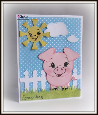 "Smooches card using the ""Black Eyed Critters Face Assortments"" Peachy Keen Stamps."
