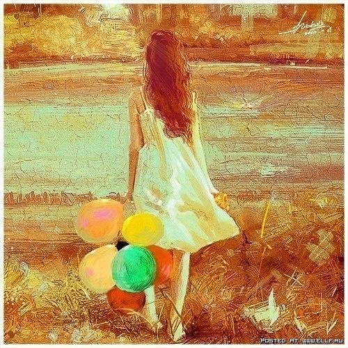 я люблю этот рисунок, в нем свобода, жизнь и много много солнца. мне кажется ОНА чего то ждет. Жду и я. Всякая женщина ждет, если в ее жизни нет перемен. Ждет любой человек. В заснеженном городе я жду теплого лета, птиц, запаха дождя, теплых луж, ветра, ряди на воде. Просыпаться утром в деревне и случать как просыпается все живое вокруг тебя. Потягиваться как кошка на солнце, жмурится, рвать ягоды. Наполнить дочке бассейн и самой свалится в него. Лето. Дорогое солнышко, приходи скорее. Твои…