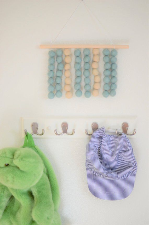 Customizable Blue Cream Felt Ball Wall Hanging Baby Blue Off White Striped Art Boho Wall Decor Blue Nursery Decor Baby Boy Room Redhead Blue On E