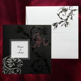 Invitatia este ideala pentru cei nonconformisti si care vor sa iasa din tipare. Culoarea predominanta este negru, cu insertii florale gri si negre in relief,iar in centru cu un chenar alb unde se poate tiparii numele (initialele) mirilor (tiparire: 0.25 lei/buc). Plicul, cu aceleasi motive florale gri, este inclus in pret #invitatie de #nunta #mirese #miri #invitatii #elegante #originale